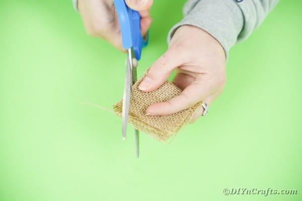 Cutting burlap