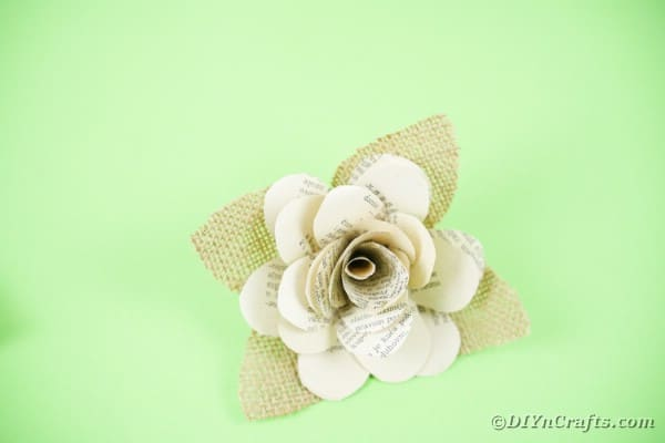 Paper flower with burlap leaves