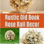 Rustic old book flower bouquet collage
