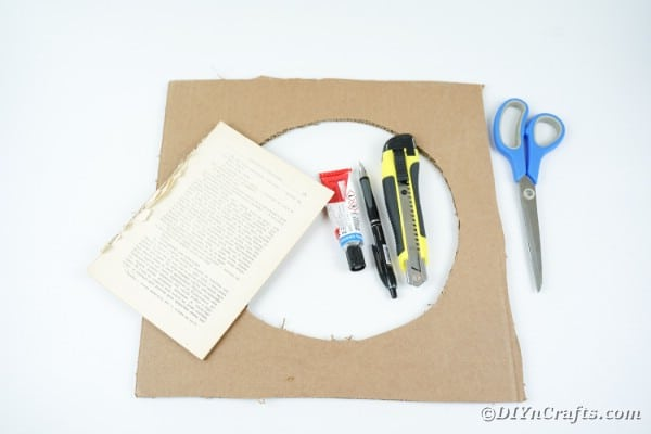 Supplies for old book page wreath