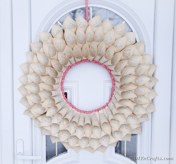 Old book wreath on door