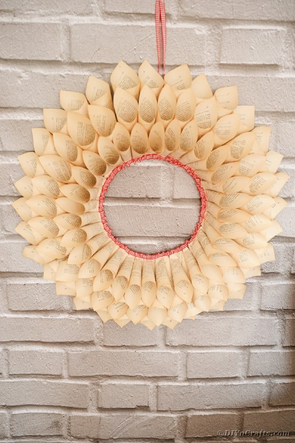 Wreath on brick wall