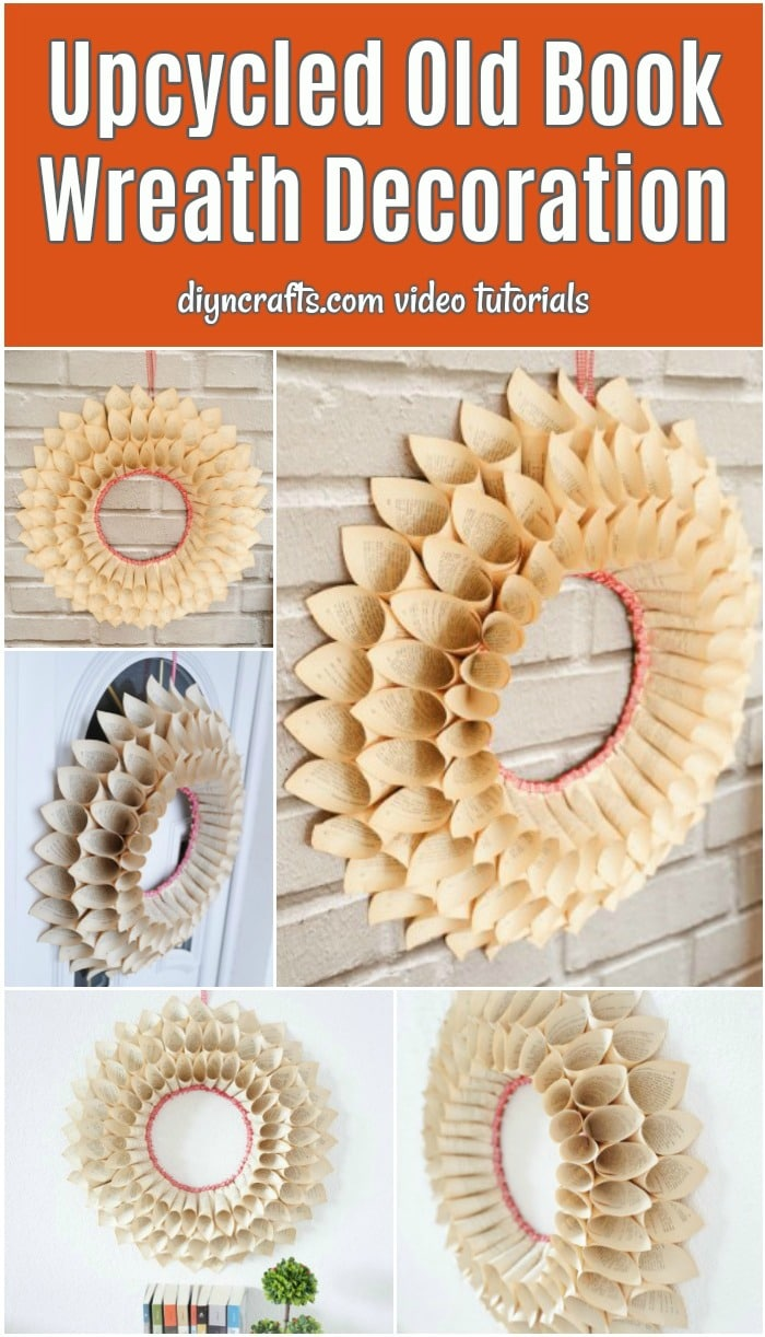 Old book wreath collage