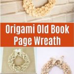 Origami book page wreath collage