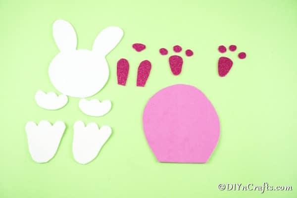 Foam paper bunny body parts