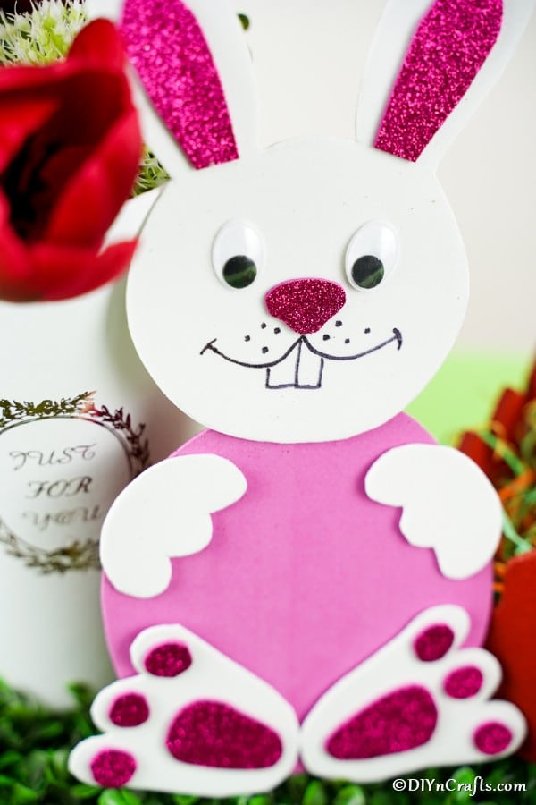 Pink and white paper foam bunny
