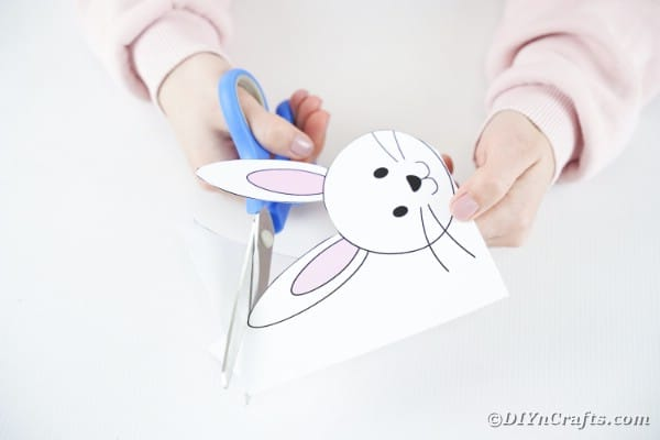 Cutting out the bunny head