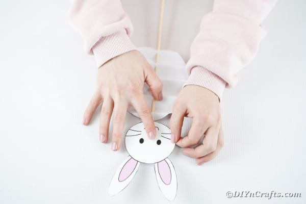 Gluing bunny head to egg body