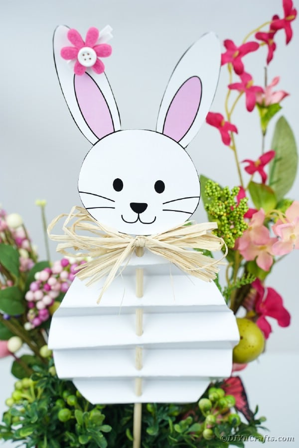 Paper Easter bunny inside flower pot