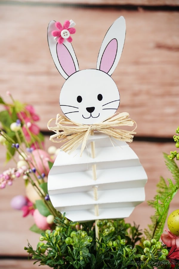 Easter bunny stuck inside plant in front of wall