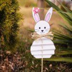Paper bunny decoration in garden