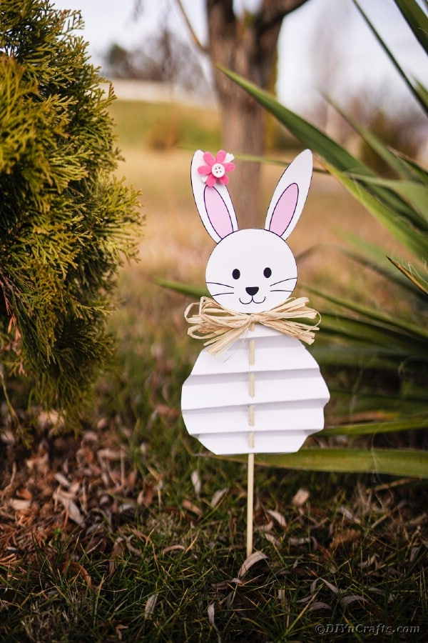 Paper bunny decoration in garden