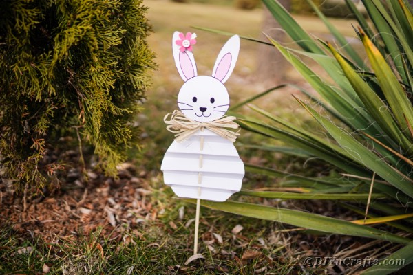 Paper Easter bunny outside in garden