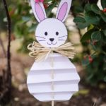 Paper Easter bunny next to tree