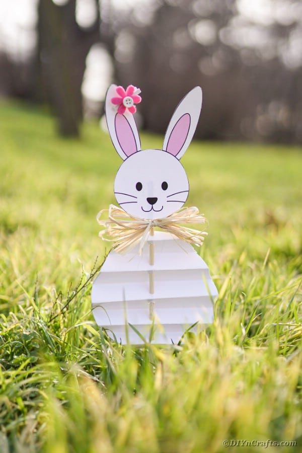 Paper Easter bunny in grass