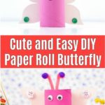 Paper roll butterfly kids craft collage