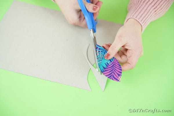 Cutting feathers from scrapbook paper
