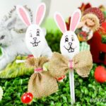 Easter bunny spoons on grass
