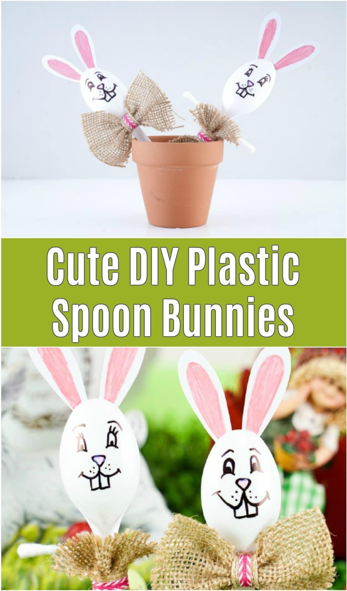 Plastic spoon bunnies in flower pots