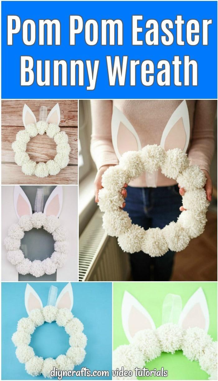 Pom pom bunny wreath
