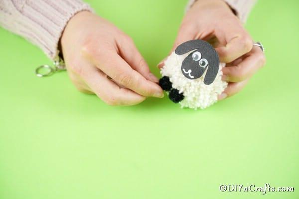 Glue face and feet onto pom pom sheep