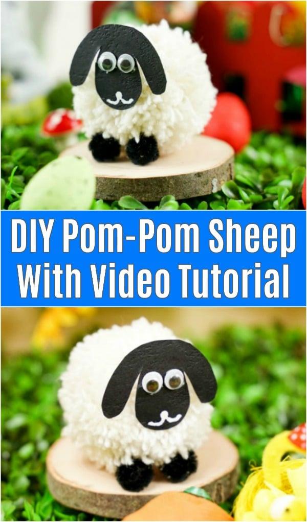 Yarn pom pom sheep on wood slice with Easter decor
