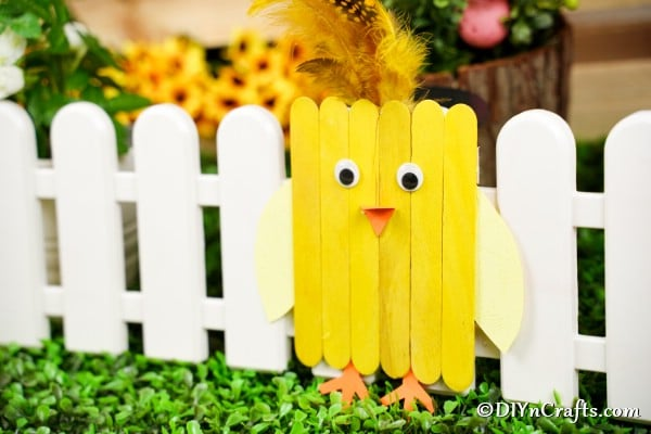 Popsicle stick chick against mini white fence