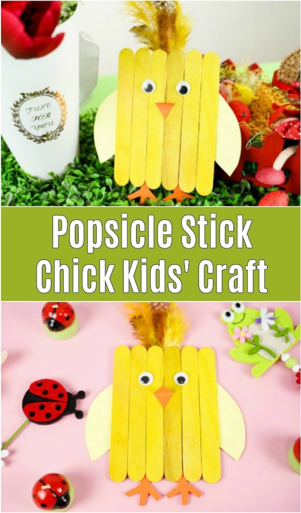 Popsicle stick chicken on grass