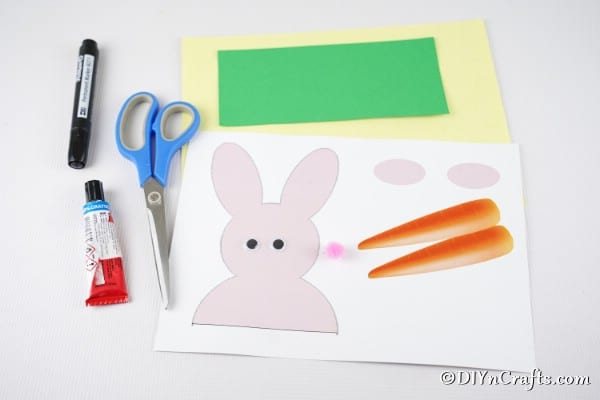 Supplies for making an Easter bunny card