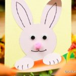 Easter bunny card printable on grass