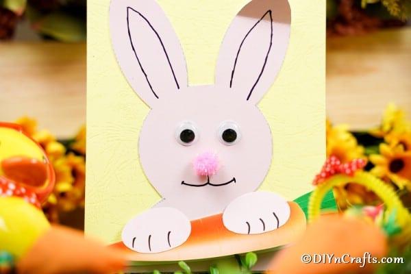 Easter bunny card printable on grass