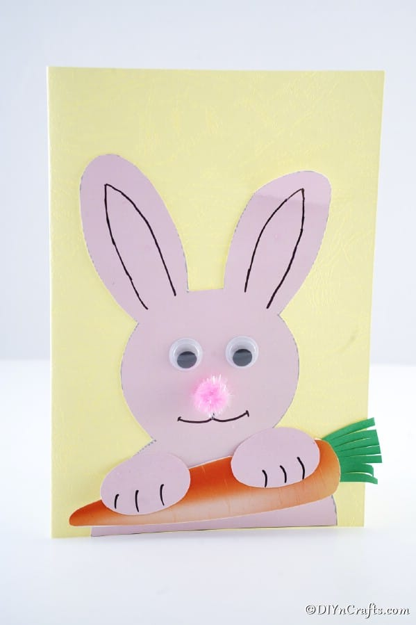 Easter bunny card on white surface