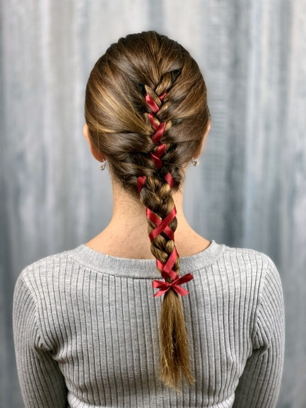 Back view of a braid with ribbon