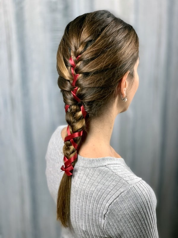 Back view of braid with ribbon