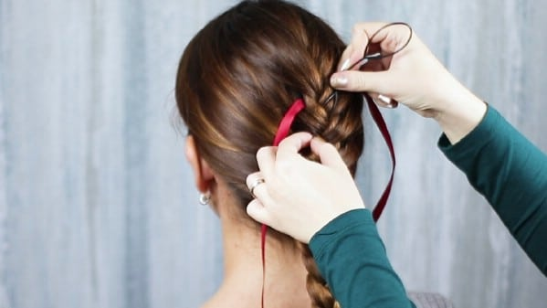Adding ribbon in braid
