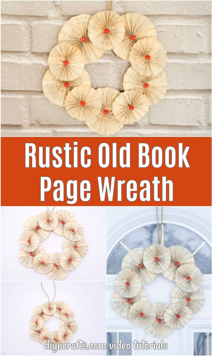 Old book page wreath collage