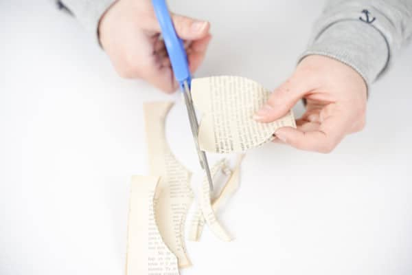 Cutting bow shape from book page