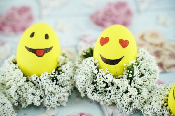 Emoji eggs on babies breath