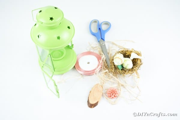 Supplies for green Easter lantern