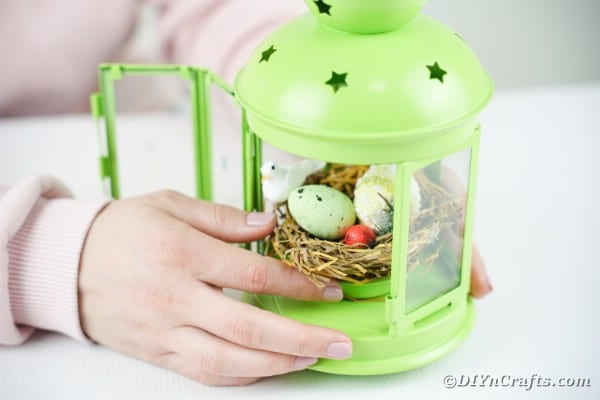 Gluing birds nest inside lantern