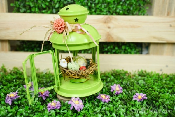 Upcycled Lantern Spring Nest Decoration