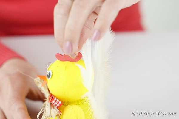 Adding rooster comb to chicken craft