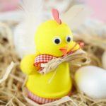 Easter chicken planter craft on hay