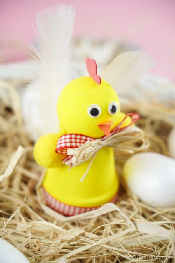 Easter chicken planter craft on hay