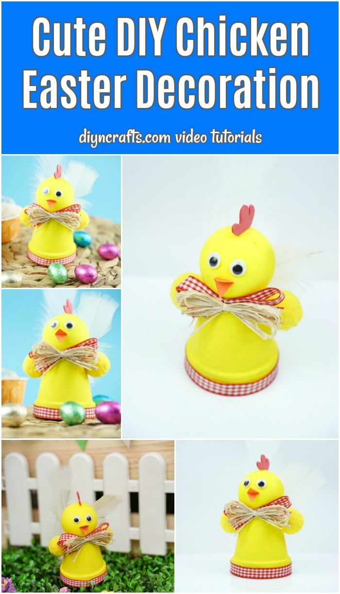 Chicken easter decoration collage