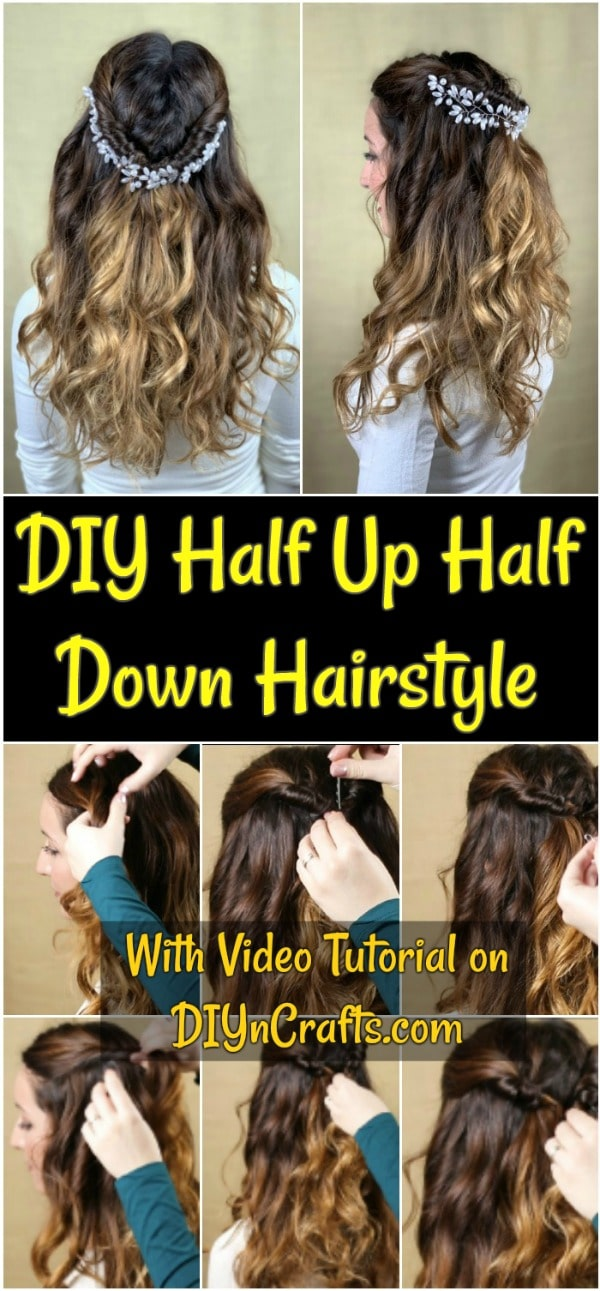 Collage of half up half down hairstyle
