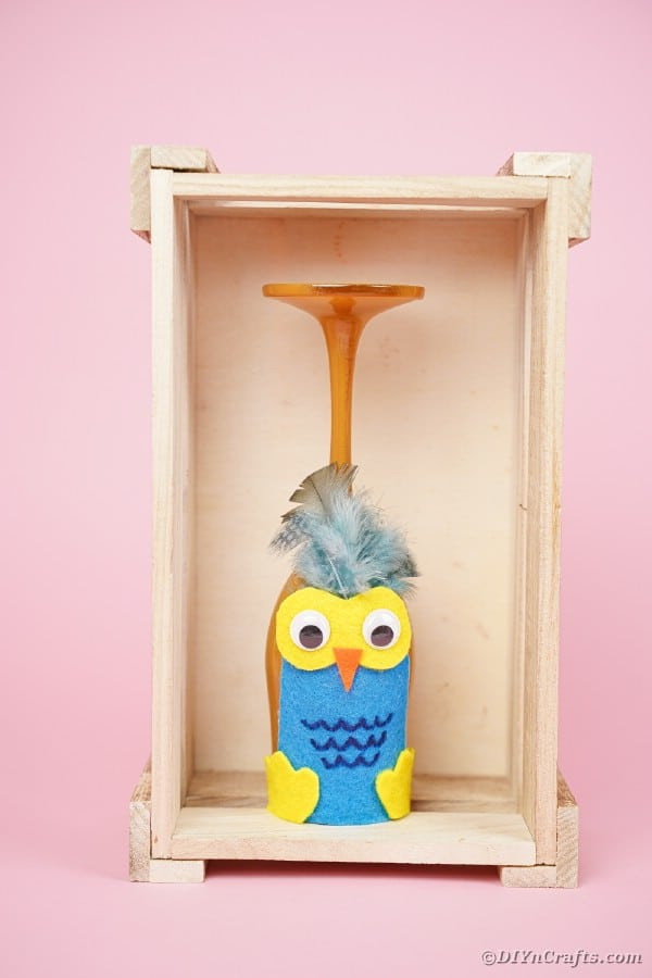 Wine glass owl in wooden box