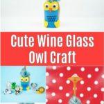 Owl wine glass craft collage