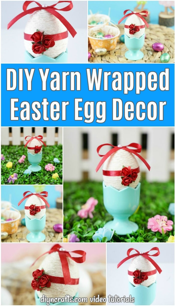 Yarn wrapped easter egg in blue egg cup