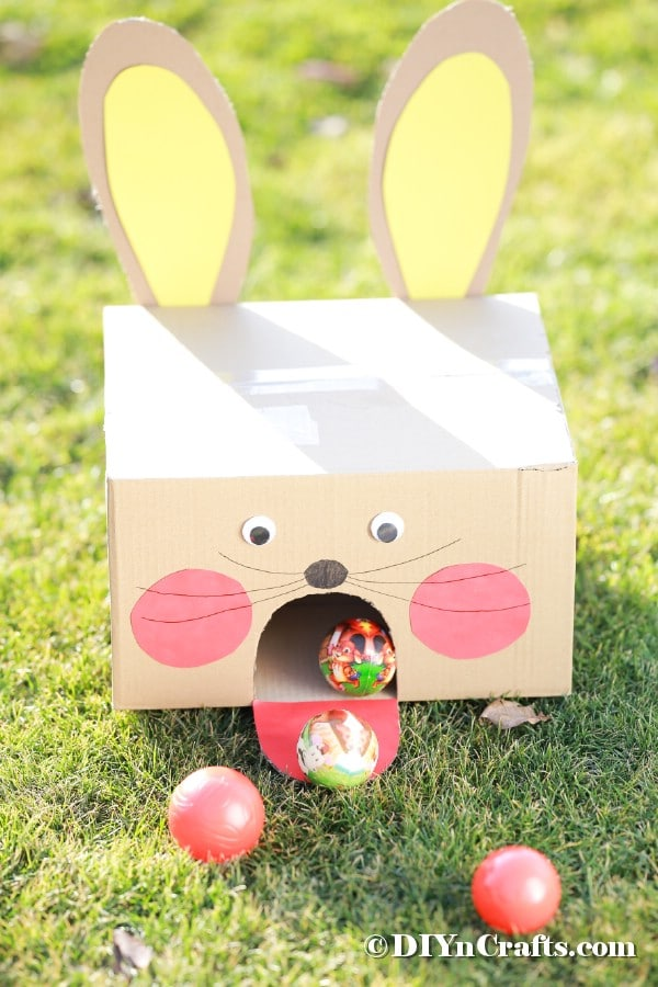 Easter bunny ball toss game outside